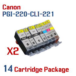 14- Includes: 4- PGI-220BK Black, 4- CLI-221BK Black, 2- CLI-221C Cyan, 2- CLI-221M Magenta, 2- CLI-221Y Yellow Compatible Canon Pixma printer ink cartridges