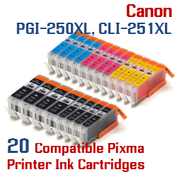 Quick 20- Includes: 4- PGI-250XLBK Black, 4- CLI-251XLBK Black, 4- CLI-251XLC Cyan, 4- CLI-251XLM Magenta, 4- CLI-251XLY Yellow Compatible Canon Pixma printer ink cartridges