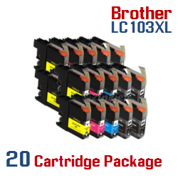 20 Cartridge Package LC103XL Brother Compatible Ink Cartridges Included in Package:  8 LC103XLBK Black, 4 LC103XLC Cyan, 4 LC103XLM Magenta, 4 LC103XLY Yellow