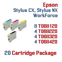 20 Cartridge Package Epson Stylus CX, Stylus NX, WorkForce Compatible Ink Cartridges