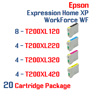20 Cartridges- 8-T200XL120 Black,  4-T200XL220 Cyan, 4-T200XL320 Magenta, 4-T200XL420 Yellow Compatible Pigment Ink Cartridges