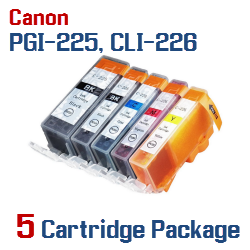Includes: 1- PGI-225BK Black, 1- CLI-226BK Black, 1- CLI-226C Cyan, 1- CLI-226M Magenta, 1- CLI-226Y Yellow Compatible Canon Pixma printer ink cartridges