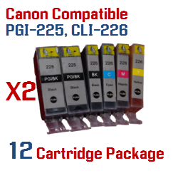 12 Cartridge Package Includes: 4- PGI-225BK Black, 2- CLI-226BK Black, 2- CLI-226C Cyan, 2- CLI-226M Magenta, 2- CLI-226Y Yellow Compatible Canon Pixma printer ink cartridges - click here -