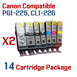 14 Cartridge Package  Includes: 4- PGI-225BK Black, 4- CLI-226BK Black, 2- CLI-226C Cyan, 2- CLI-226M Magenta, 2- CLI-226Y Yellow Compatible Canon Pixma printer ink cartridges - click here -