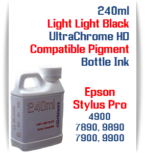 Light Light Black 240ml Bottle Compatible UltraChrome HDR Pigment Ink Epson Stylus Pro Printers
