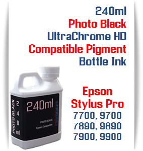 Photo Black 240ml Bottle Compatible UltraChrome HDR Pigment Ink Epson Stylus Pro Printers
