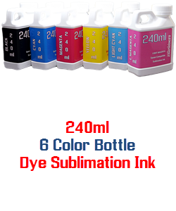 6 240ml Color Dye Sublimation Bottle Ink Package