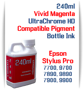 Vivid Magenta 240ml Bottle Compatible UltraChrome HDR Pigment Ink Epson Stylus Pro Printers