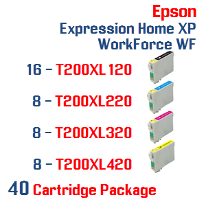 40 Cartridges- 16-T200XL120 Black,  8-T200XL220 Cyan, 8-T200XL320 Magenta, 8-T200XL420 Yellow Compatible Pigment Ink Cartridges