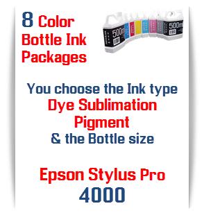 8 Bottles of printer ink Epson Stylus Pro 4000