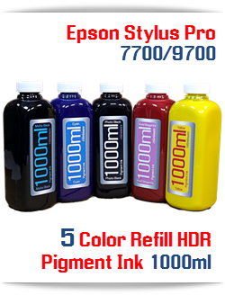 5 1000ml bottles, 5 Colors Refill Ink Epson Stylus Pro 7700/9700 printers