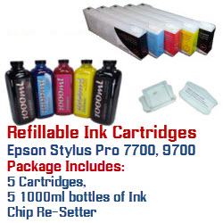 5 Refillable Cartridges and ink package Epson Stylus Pro 7700, 9700 Printers