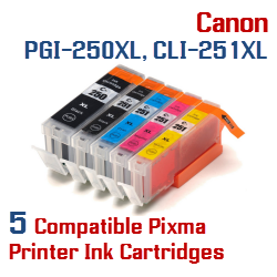 Quick 5 - Includes: 1- PGI-250XLBK Black, 1- CLI-251XLBK Black, 1- CLI-251XLC Cyan, 1- CLI-251XLM Magenta, 1- CLI-251XLY Yellow Compatible Canon Pixma printer ink cartridges