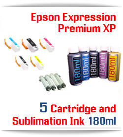 5 Color Cartridge and Sublimation Ink 180ml Epson Expression XP Package