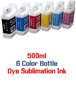 6 500ml Color Dye Sublimation Bottle Ink Package