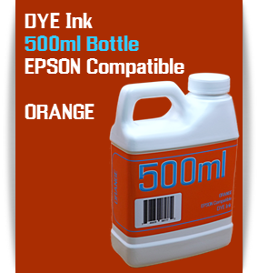 Orange 500ml DYE Bottle Ink Epson Stylus Pro Printers
