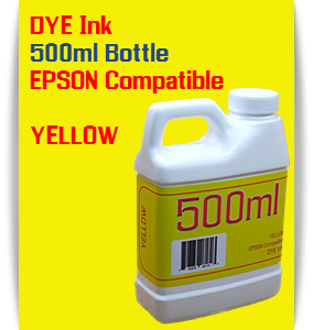 Yellow 500ml DYE Bottle Ink Epson Stylus Pro Printers