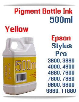 Yellow 500ml Bottle Pigment Ink Epson Stylus Pro