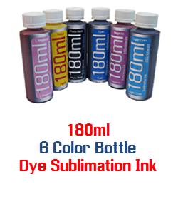 6 180ml Color Dye Sublimation Bottle Ink Package