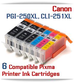 6 Ink Tank Package - 2- PGI-250XLBK Black, 1- CLI-251XLBK Black, 1- CLI-251XLC Cyan, 1- CLI-251XLM Magenta, 1- CLI-251XLY Yellow