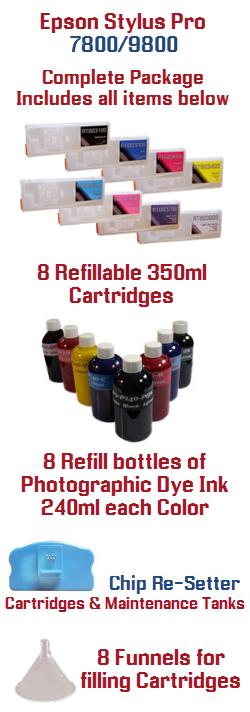 8 Refillable Cartridge Package Epson Stylus Pro 7800, 9800 printer