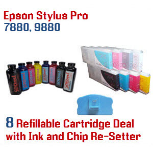 8 Refillable ink cartridges with ink, Epson Stylus Pro 7880, 9880 printer