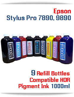 Epson Stylus Pro 7890/9890 Printer 9 bottles 9 colors Refill HDR Pigment Ink
