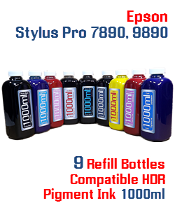 9 Color Refill Pigment Ink Epson Stylus Pro 7890, 9890 Printers