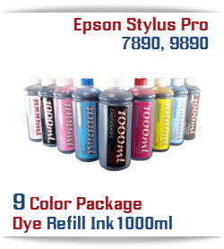 9 Bottles of Photographic Dye Ink 1000ml each color