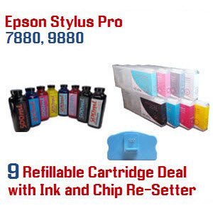9 Refillable ink cartridges with ink, Epson Stylus Pro 7880, 9880 printer