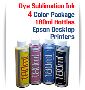4 Color Package Dye Sublimation Ink 180ml Bottles Epson Desktop Printers