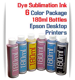 6 Color Package Dye Sublimation Ink 180ml Bottles Epson Desktop Printers