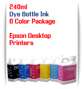 6 Bottles 240ml Dye Ink Epson Desktop Printers