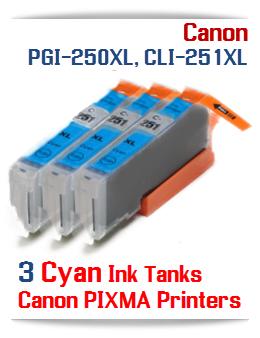 3 Cyan CLI-251XLC Canon Pixma ink tanks