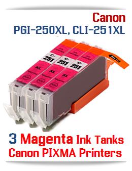 3 Magenta CLI-251XLM Canon Pixma ink tanks