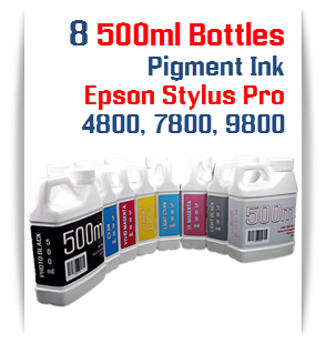 8 Bottles Compatible UltraChrome Pigment Ink Epson Stylus Pro 4800 printers