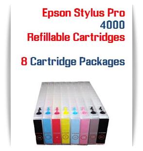 8 Refillable Cartridges Epson Stylus Pro 4000