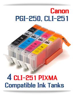 4- Includes: 1- CLI-251XLBK Black, 1- CLI-251XLC Cyan, 1- CLI-251XLM Magenta, 1- CLI-251XLY Yellow Compatible Canon Pixma printer ink tanks