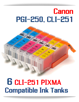 Includes:  2-CLI-251XLC Cyan, 2-CLI-251XLM Magenta, 2-CLI-251XLY Yellow Compatible Canon Pixma printer ink tanks