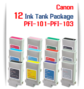 12 Cartridge Package PFI-101 & PFI-103 Canon Compatible Pigment Printer Ink Tanks 130ml