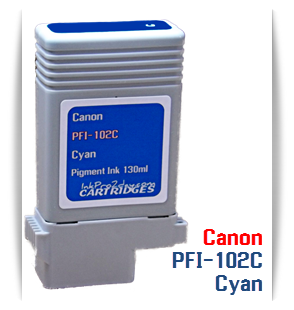 PFI-102C Cyan Canon imagePROGRAF Compatible Pigment Printer Ink Tank 130ml