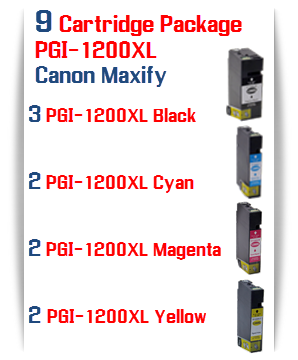 9 Cartridge Package - PGI-1200XL Compatible Ink Cartridge Canon Maxify MB2020, MB2320