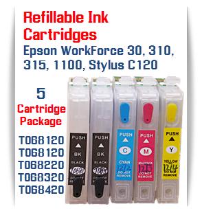 5 Refillable Cartridges 2 Black, 1 Cyan, 1 Magenta, 1 Yellow WorkForce 30, 310, 315, Stylus C120