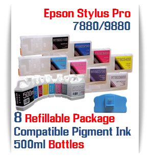 8 Refillable Ink Cartridges Epson Stylus Pro 7880/9880 with 8 bottles 500ml Pigment ink