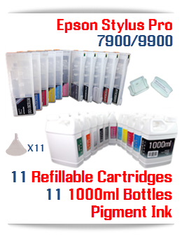 11 Refillable Cartridges package Epson Stylus Pro Printers 7900/9900