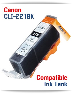 CLI-221BK Black Compatible Canon Pixma printer Ink Cartridge W/ Chip