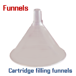 Refillable cartridge filling funnels