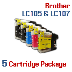 5 Cartridge Package Compatible Brother LC105XXL & LC107XXL Included Cartridges:  2 LC107XXLBK Black, 1 LC105XXLC Cyan, 1 LC105XXLM Magenta,  1 LC105XXLY Yellow