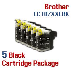 5 Cartridge Package  LC107XXLBK Black Brother Ink Cartridge