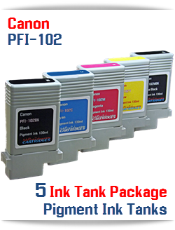 5 Ink Tank Package Canon PFI-102 Compatible Pigment Ink Tanks 130ml